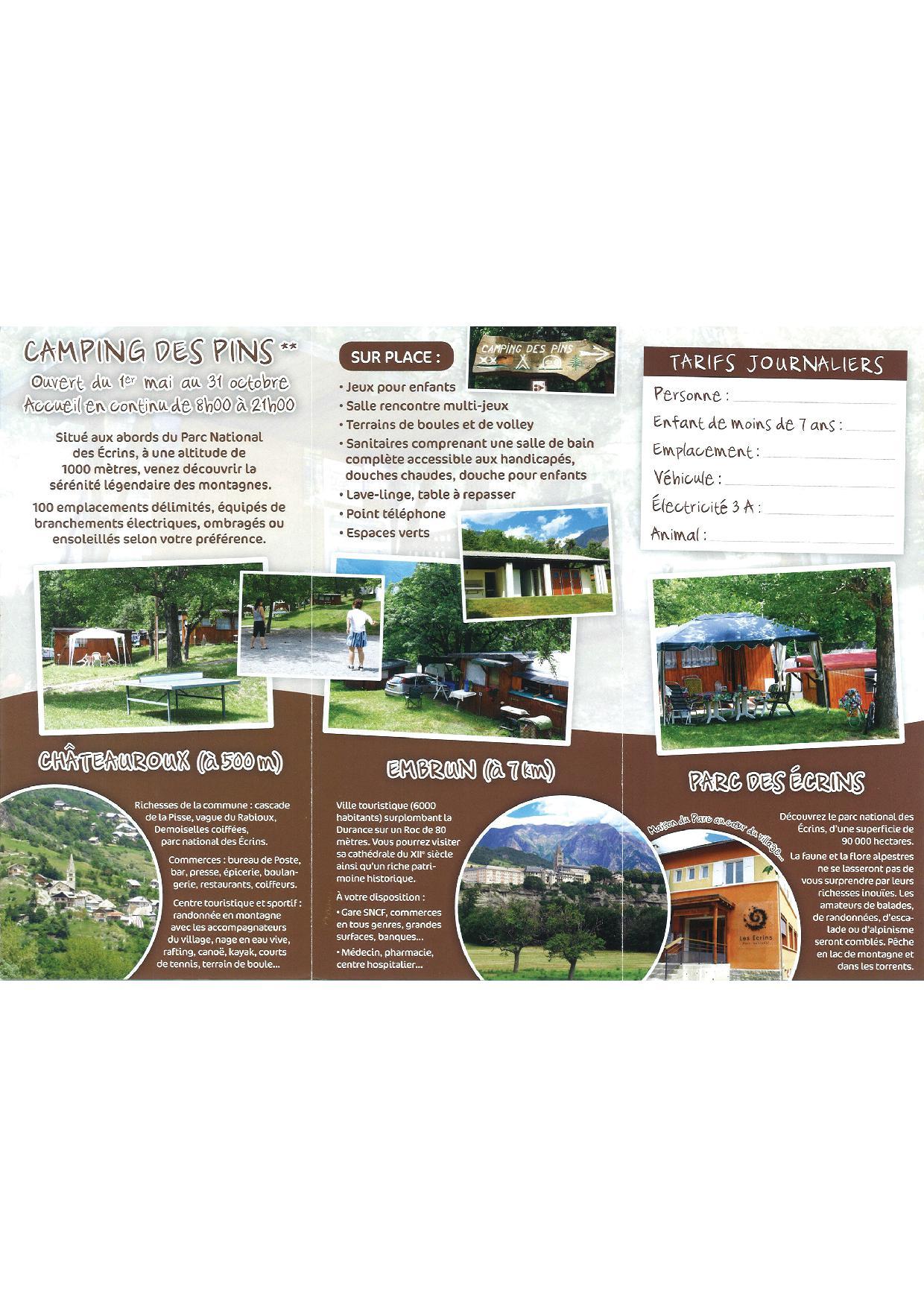 dépliant du camping les Pins2